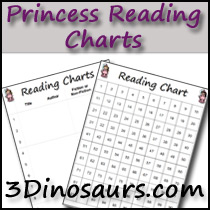 Princess Theme Reading Charts