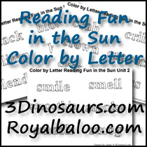 Reading Fun in the Sun Color by Letter