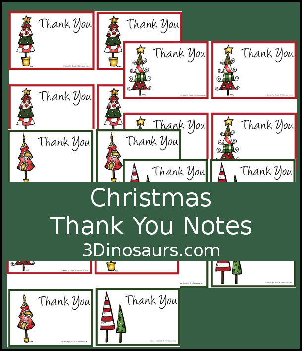 Free Christmas Thank You Notes Printable - fun Christmas tree themed thank you cards that you can use during the holidays - 3Dinosaurs.com