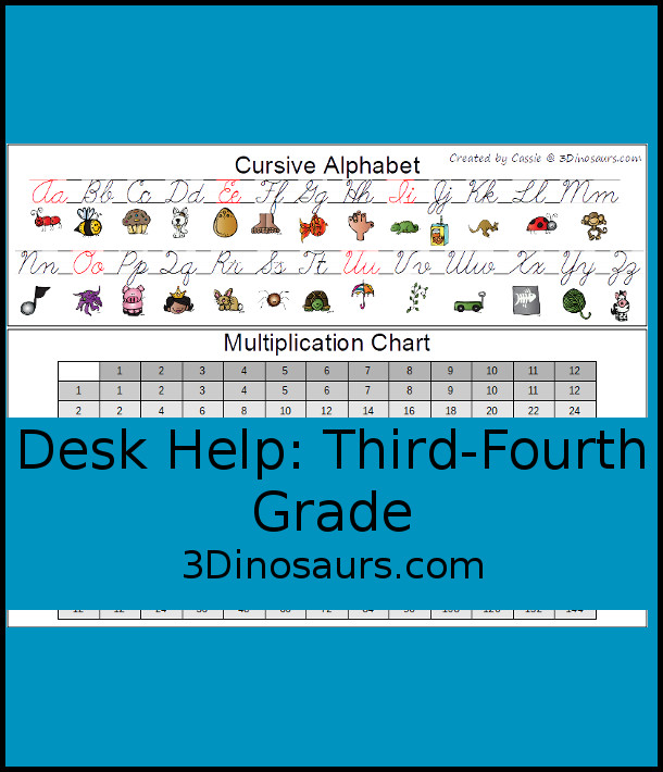 Free Desk Help for Third Grade: Cursive ABCs & Multiplication Chart - 3Dinosaurs.com