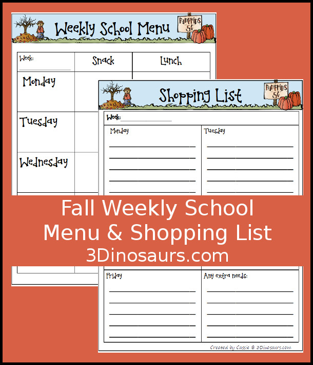 Free Fall Themed Weekly School Menu - a fun printable to help kids keep track of what they are eating - 3Dinosaurs.com