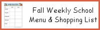 Fall Themed Weekly School Menu & Shoppping List