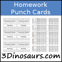Homework Punch Cards Printables