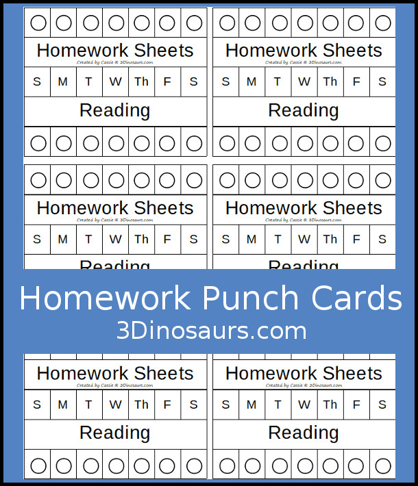 Free Homework Punch Cards  with homework sheets and reading - 3Dinosaurs.com