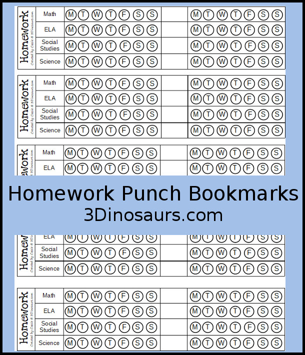Free Homework Punch Bookmarks with homework ELA, math, social studies and science and 4 write in - 3Dinosaurs.com