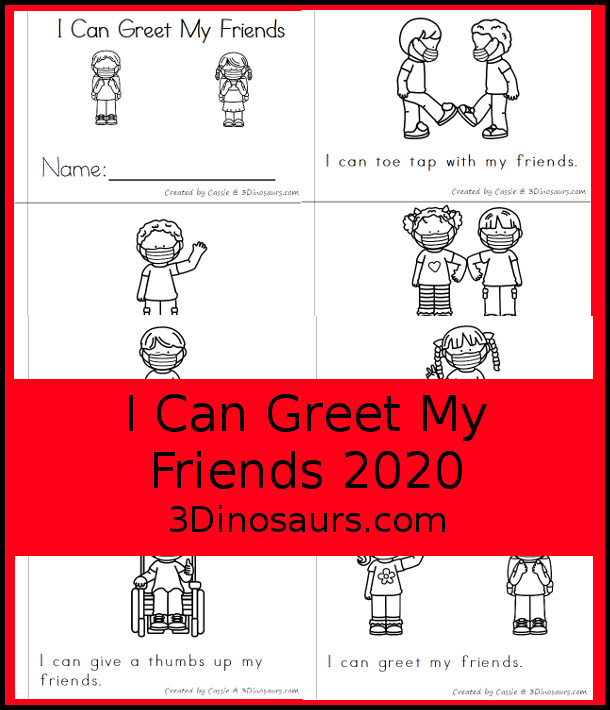 Free I can greet my Friends Easy Read Book for BTS 2020 - an 8 page or 8 page easy reader book that kids can use to learn about greeting friends. - 3Dinosaurs.com