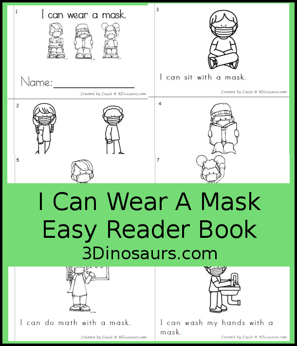 Free I Can Wear A Mask Easy Reader Book for BTS 2020 - an 8 page book about things you can do at school while wearing a mask - 3Dinosaurs.com