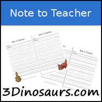 Note to Teacher Printable
