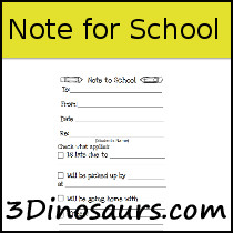 Note to School Printable