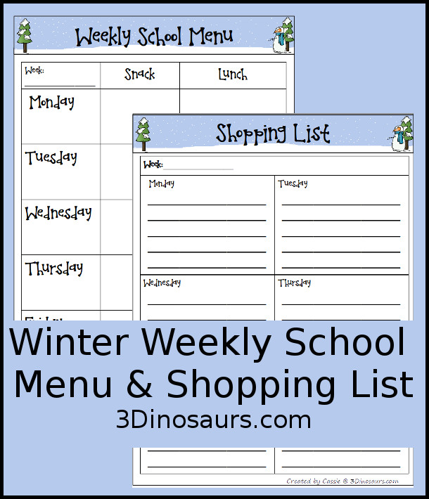 Free Winter Themed Weekly School Menu - a fun printable to help kids keep track of what they are eating - 3Dinosaurs.com