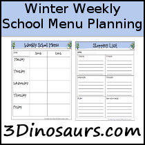 Winter Themed Weekly School Menu & Shoppping List Printables