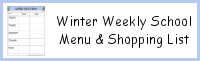 Winter Themed Weekly School Menu & Shoppping List