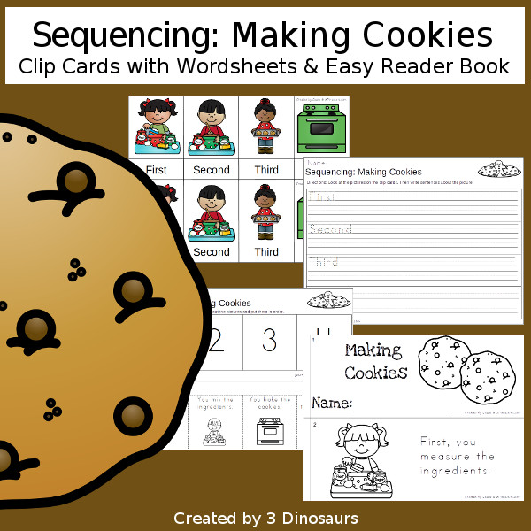 Sequencing: Sequencing: Making Cookies -  with clip cards, task cards, no-prep worksheets and easy reader books $ - 3Dinosaurs.com #printablesforkids #sequencingforkids #christmas #winterprintables #tpt #teacherspayteachers
