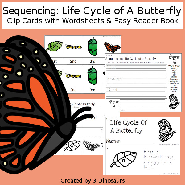 Sequencing: Life Cycle of a Butterfly with clip cards, task cards, no-prep worksheets and easy reader books $ - 3Dinosaurs.com #printablesforkids #sequencingforkids #earthday #springprintables #tpt #teacherspayteachers