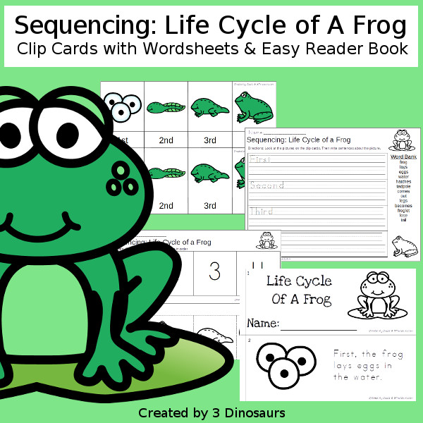 Sequencing: Life Cycle of a Frog with clip cards, task cards, no-prep worksheets and easy reader books $ - 3Dinosaurs.com #printablesforkids #sequencingforkids #earthday #springprintables #tpt #teacherspayteachers