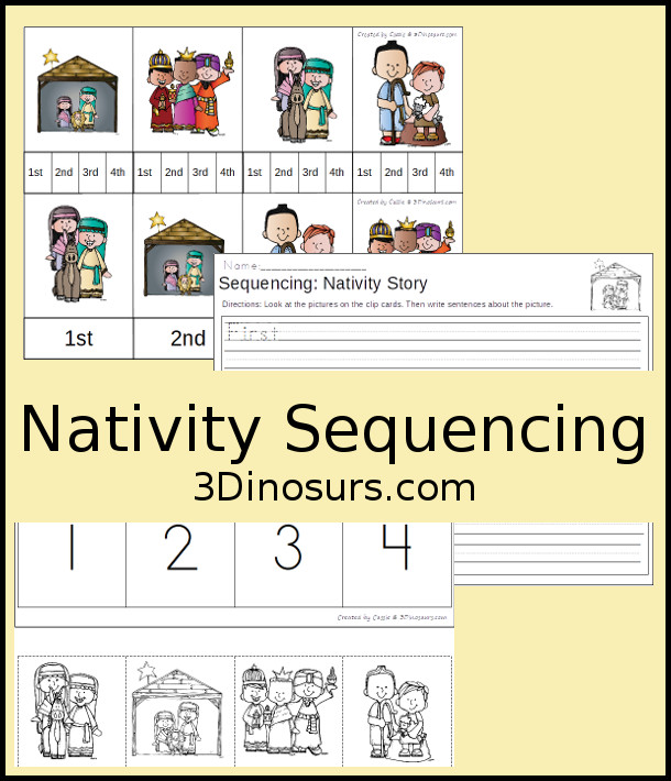 Free Nativity Sequencing Clip Cards - 4 clip cards, sequencing cards and a writing page - 3Dinosaurs.com #nativity #christmasprintables #sequecingforkids