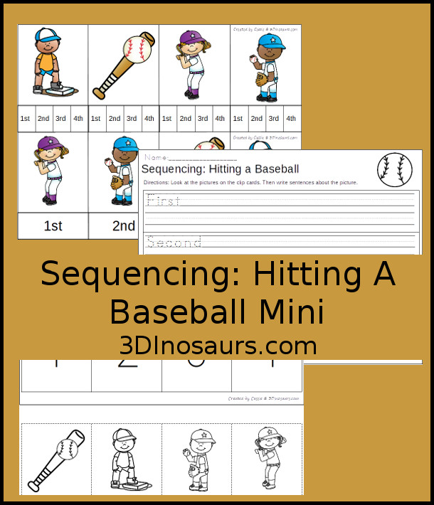 Free Hitting a Baseball Mini Sequencing: - 4 clip cards, 3 part cards, sequencing cut and paste, and a writing page - 3Dinosaurs.com
