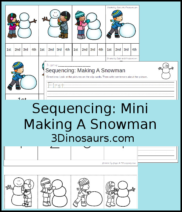 picture regarding Printable Sequencing Cards referred to as Developing A Snowman Winter season Sequencing Playing cards Sets 3 Dinosaurs