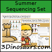 image regarding Sequencing Cards Printable named 3 Dinosaurs - Sequencing Playing cards Mounted for Summer time