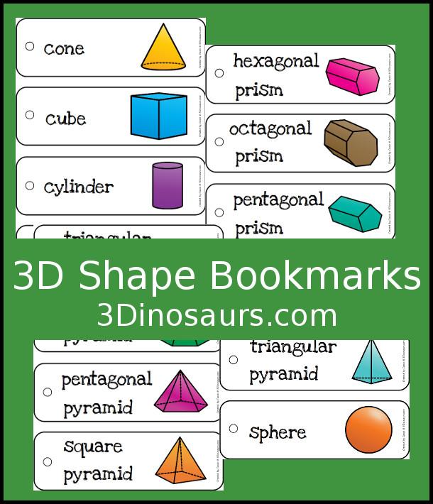 Free 3D Shape Bookmarks - 14 different 3D shapes - 3Dinosaurs.com