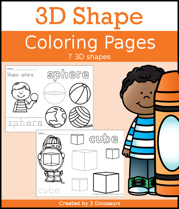Easy No-Prep 3D Shape Coloring Pages 3 Dinosaurs