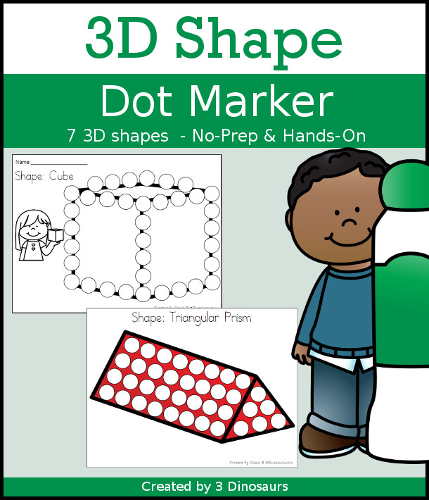 3D Shape Dot Marker Selling Set with 7 shapes for kids to learn with in two options of pages - 3Dinosaurs.com
