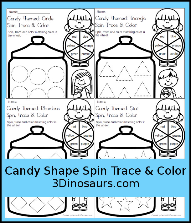 Free Candy Jar Spin, Trace & Color - 8 shapes for kids to learn with this easy no-prep printable - 3Dinosaurs.com #no-prep #shapes #colorforkids #freeprintables #kindergarten #prek