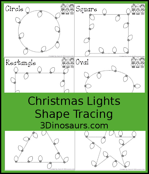 Christmas Lights Shape Tracing - 9 shapes for kids to work on with a fun Christmas theme - 3Dinosaurs.com