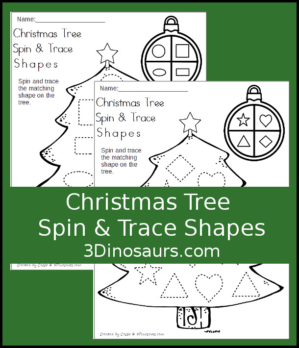 Free Christmas Tree Spin & Trace Shapes - 2 pages of no-prep printables for kids to work on tracing shapes - 3Dinosaurs.com #freeprintable #shapesforkids #christmasprintables