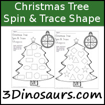 Christmas Tree Spin & Trace Shapes Printable