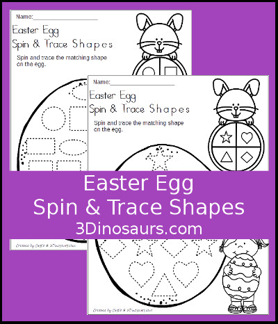 Easter Egg Spin & Trace Shapes Printable