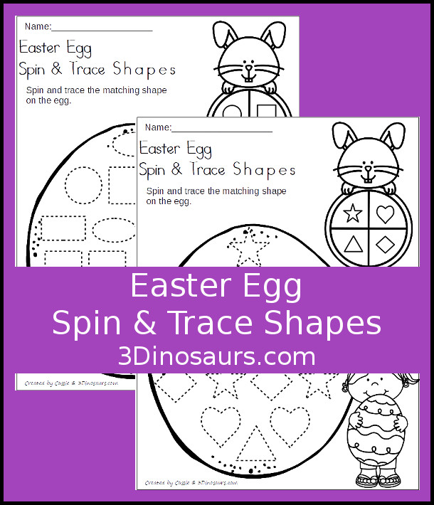 Free Easter Egg Spin & Trace Shapes - 2 pages of no-prep printables for kids to work on tracing shapes - 3Dinosaurs.com #freeprintable #shapesforkids #easterprintables