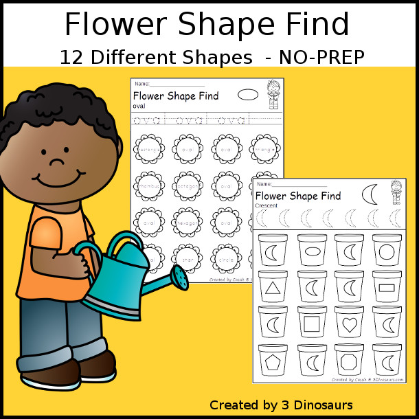 Flower Shape Find - easy to use no-prep printable $ - 3Dinosaurs.com