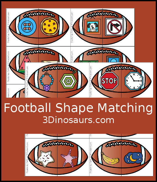 Free Football Shape Matching Puzzles - 12 shapes to match in 2 piece puzzles - 3Dinosaurs.com