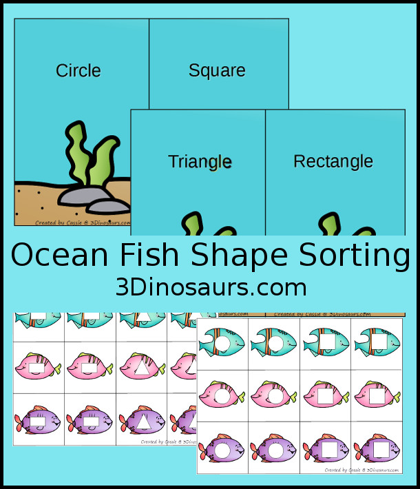 Free Ocean Themed Shape Sorting for circle, square, rectangle and triangle - 3Dinosaurs.com