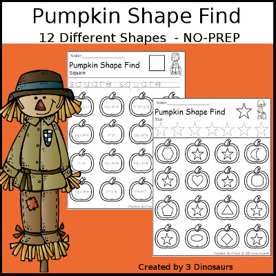 Pumpkin Themed Shape Find: shape and shape word with tracing $ - 3Dinosaurs.com