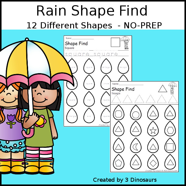 Rain Themed Shape Find: shape and shape word with tracing $ - 3Dinosaurs.com