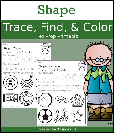 Shape Trace, Find & Color wiht the following shapes: circle, square, rectangle, oval, triangle, rhombus, diamond, heart, crescent, star, pentagon, hexagon, octagon - tracing of shape and shape word $ - 3Dinosaurs.com