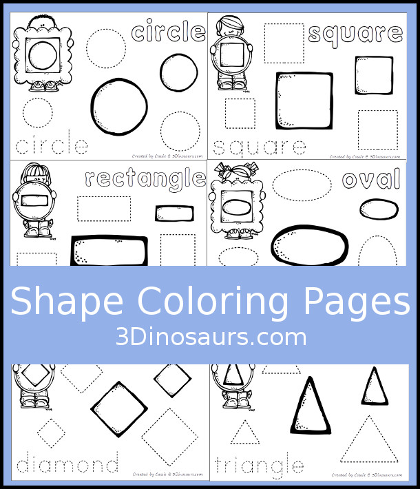 Shape Coloring pages with 12 shapes for kids to learn in an easy no-prep printable - 3Dinosaurs.com