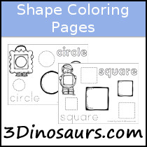 3 Dinosaurs Shape Coloring Pages