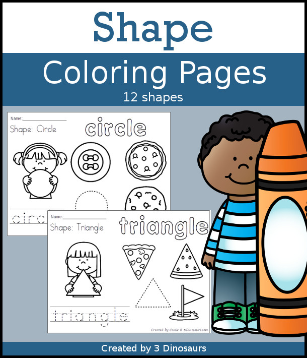 Shape Coloring pages with 12 shapes for kids to learn in an easy no-prep printable with tracing, coloring of the shape and shape words - 3Dinosaurs.com
