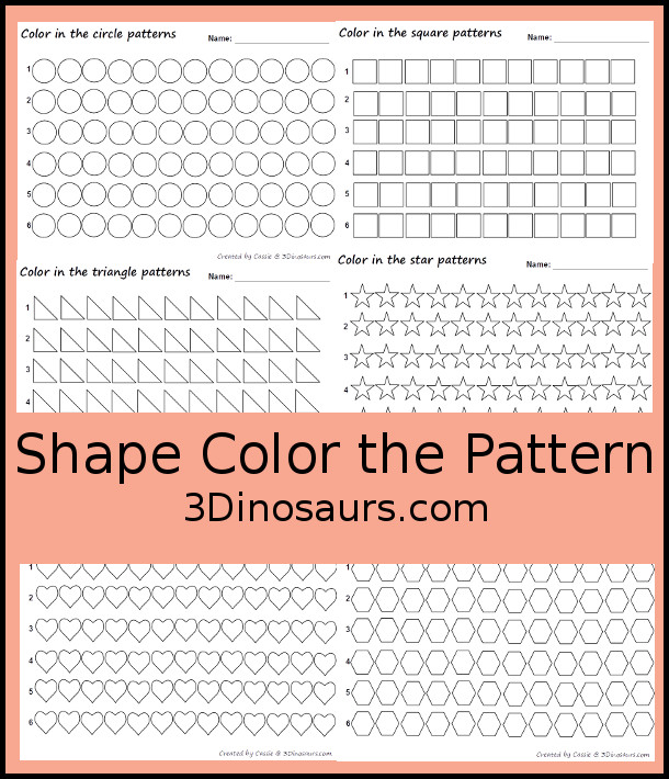 Shape Pattern Coloring  - 3Dinosaurs.com