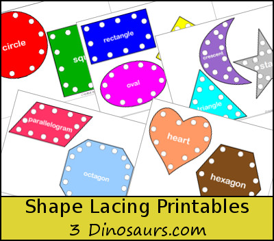 graphic relating to Printable Pictures of Shapes titled 3 Dinosaurs - Condition Lacing Printable