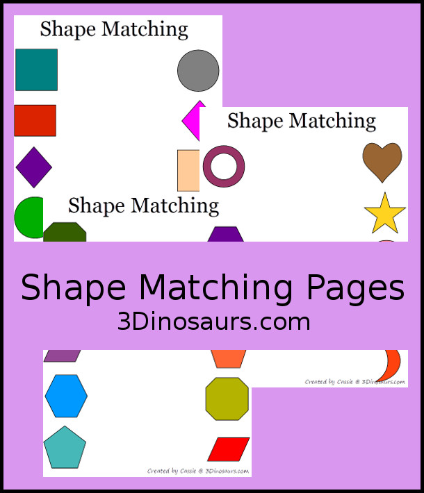 Shape Matching Pages  - 3Dinosaurs.com