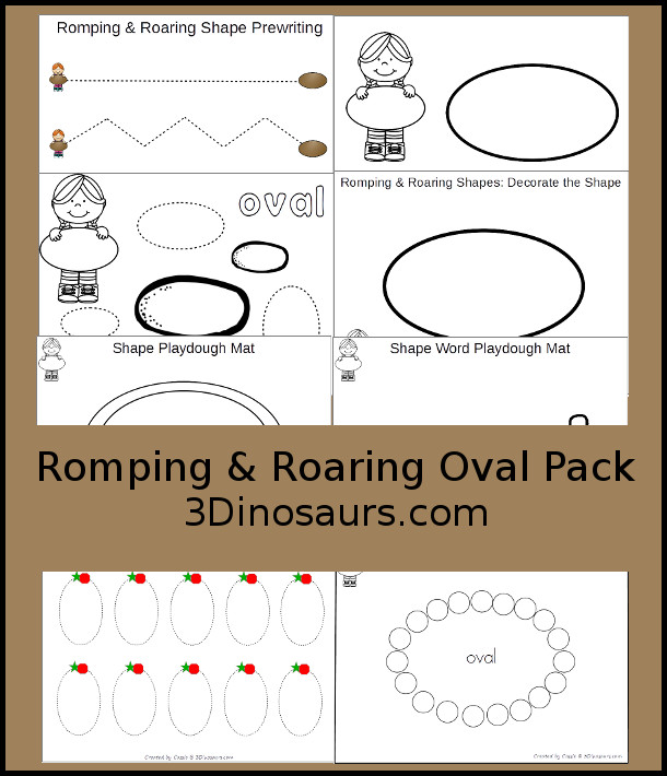 Free Romping & Roaring Oval Pack - 10 pages of activities - 3Dinosaurs.com