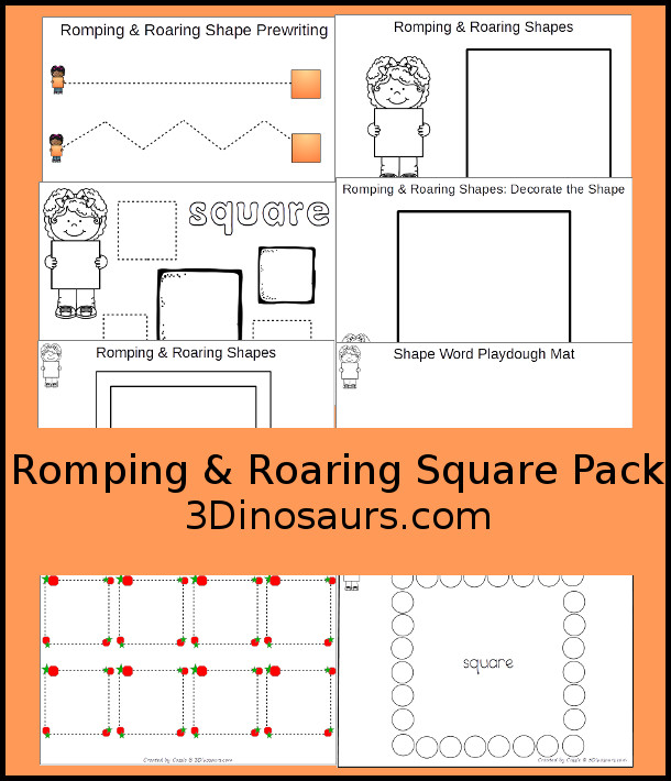 Free Romping & Roaring Square Pack - 10 pages of activities - 3Dinosaurs.com