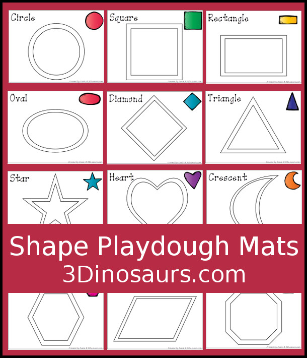 Free Shape Playdough Mats - 3 Dinosaurs