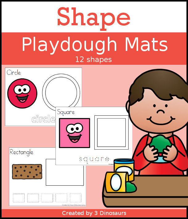 Shape Playdough Mat Set - 3 options for working each shape with playdough mat words, tracing words and tracing shape - 3 Dinosaurs