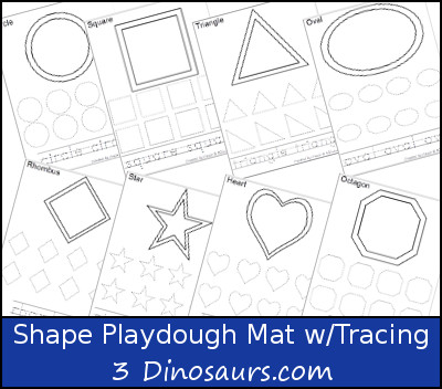 Playdough Mat with tracing of the shape and the shape word It has the ...