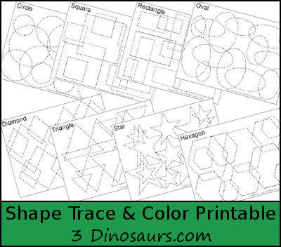 FREE Shape Trace & Color Printables - 3 Dinosaurs